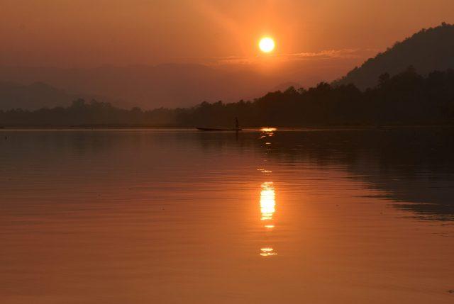 Lake during sunset