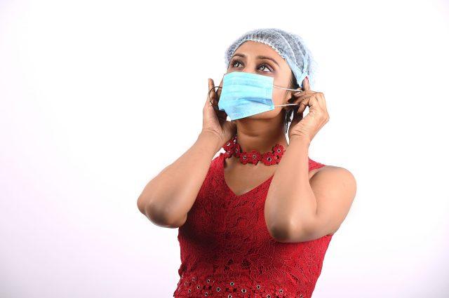 Model wearing mask