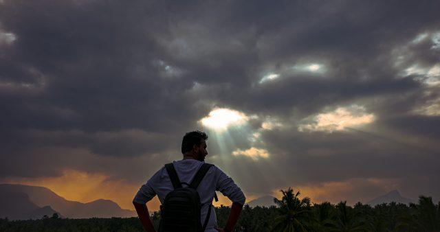 Boy posing during sunset
