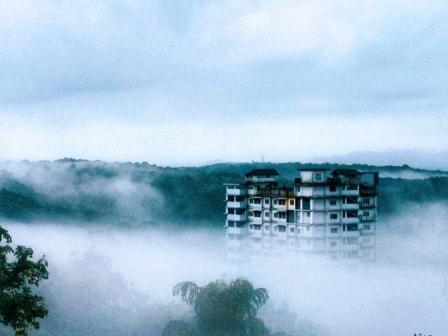 Winter fog near a building