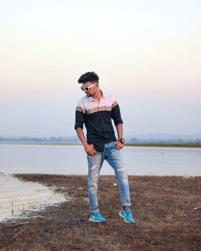 A boy at riverbank