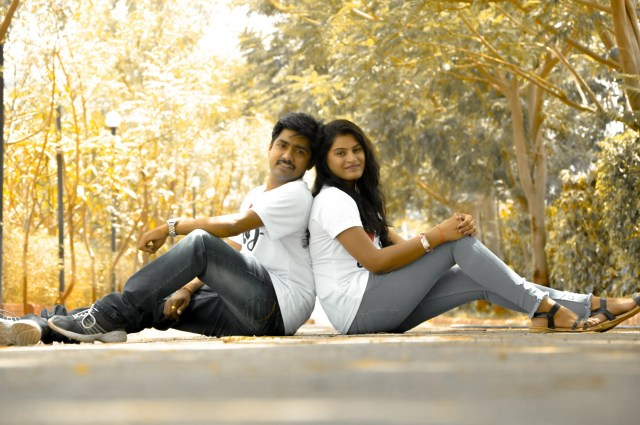 Couple posing on road
