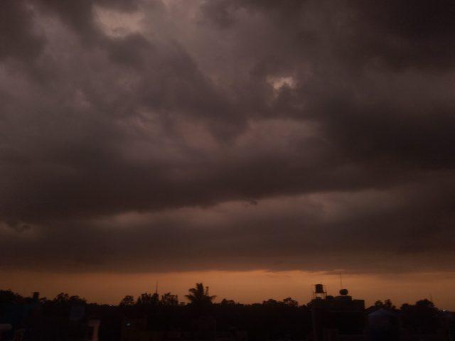 Dark clouds during evening
