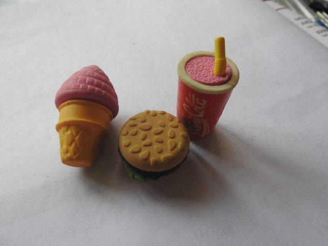 Eraser as food items