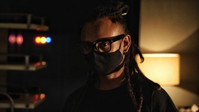 Male model closeup wearing mask