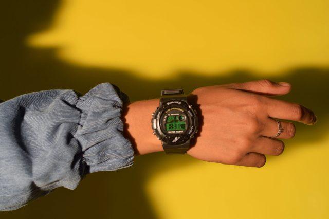 A digital wrist watch