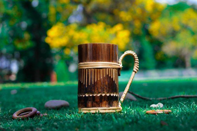 A wooden mug