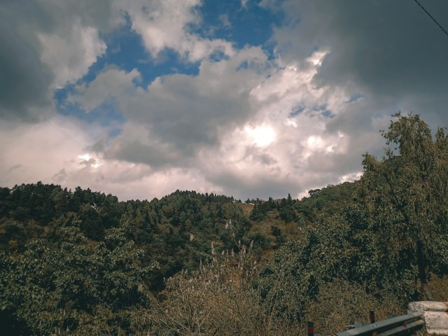 Clouds over Mussoorie mountains