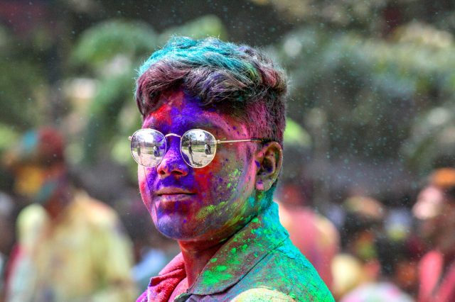Holi colors on Boy's face
