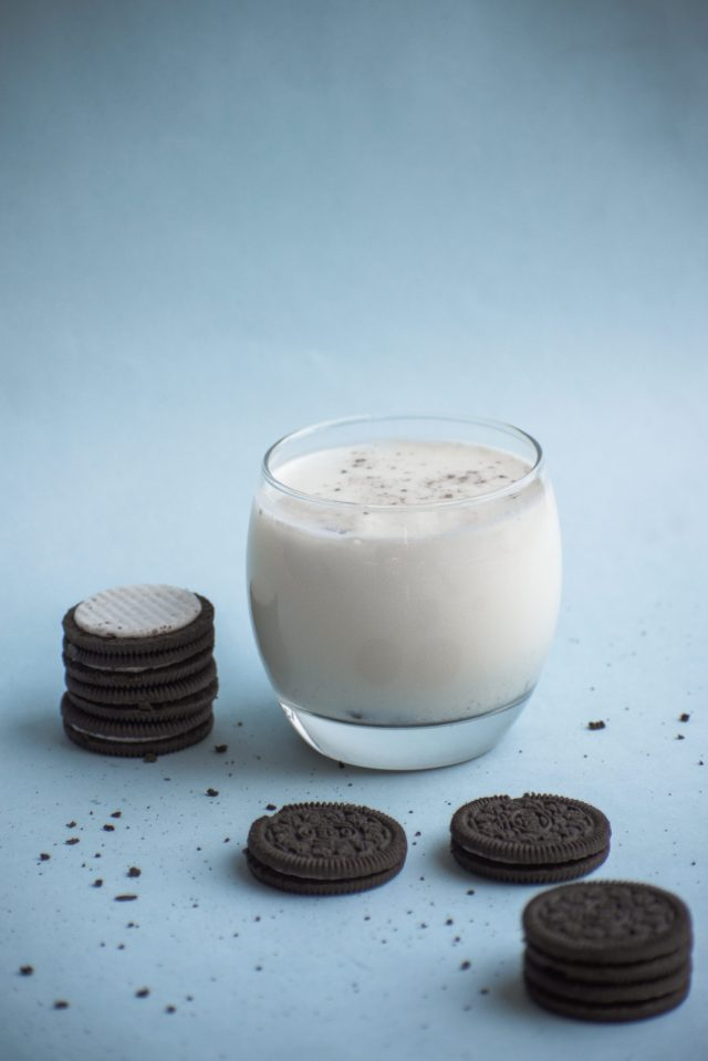 Milk in the glass and Oreo biscuits