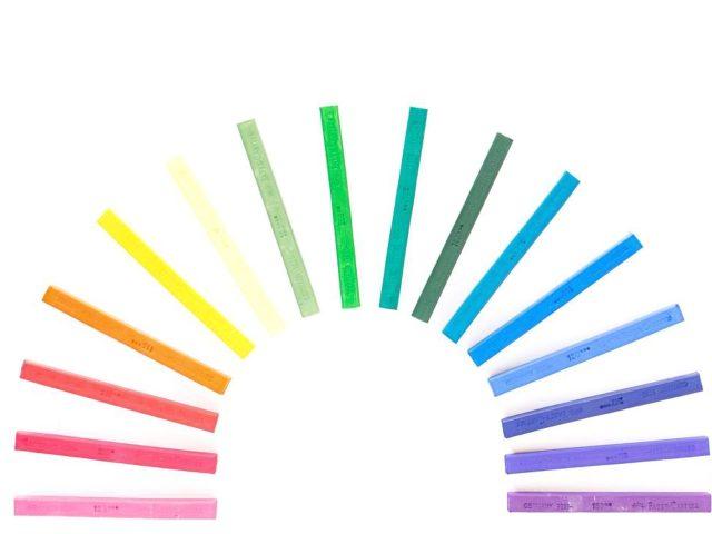 A circular design made with colorful sticks
