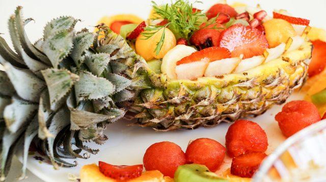 Fresh fruits and salad