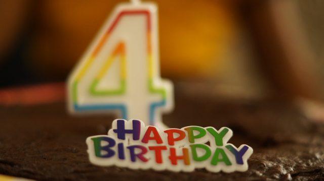 Happy birthday tag on a cake