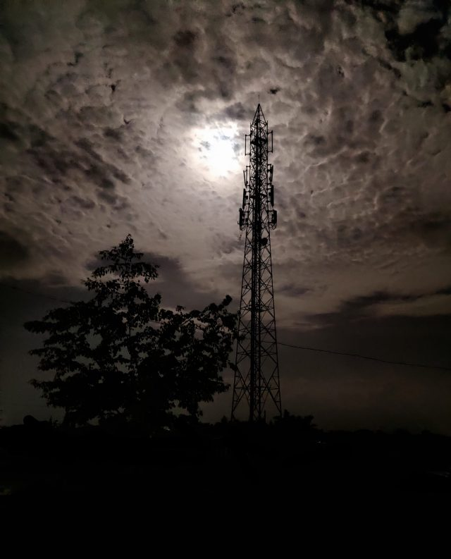 Clouds over a telcom tower