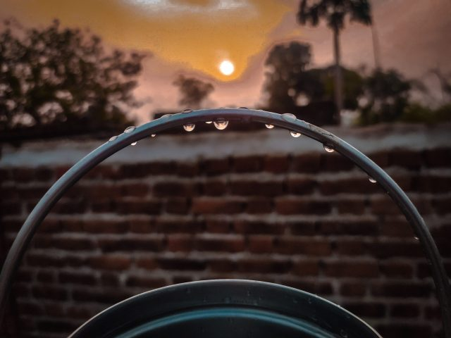 Sunset and water drops on a ring