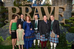 (L-R) Katherine Sarafian, Mark Andrews, actress Peigi Barker, Brenda Chapman, Ed Catmull, John Lasseter, and Jim Morris