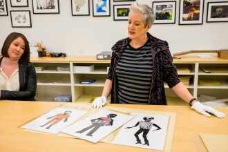 Archivist Lauren Gaylord and Lead Archivist and Pixar Historian Christine Freeman at Incredibles 2 Long Lead Press day, as seen on April 5, 2018 at Pixar Animation Studios in Emeryville, Calif. (Photo by Marc Flores)