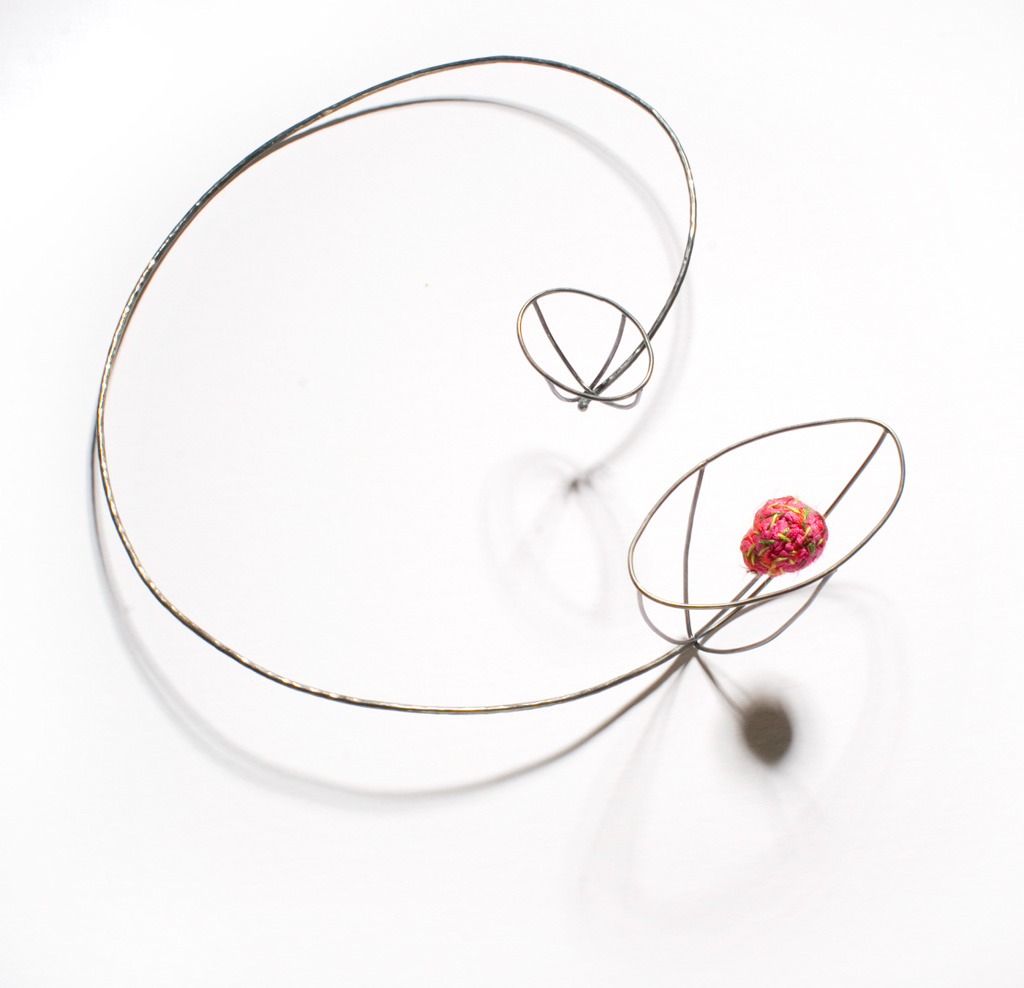 "Myung Urso - ""Blossom"" (2008). Necklace. Silk, thread, sterling silver."