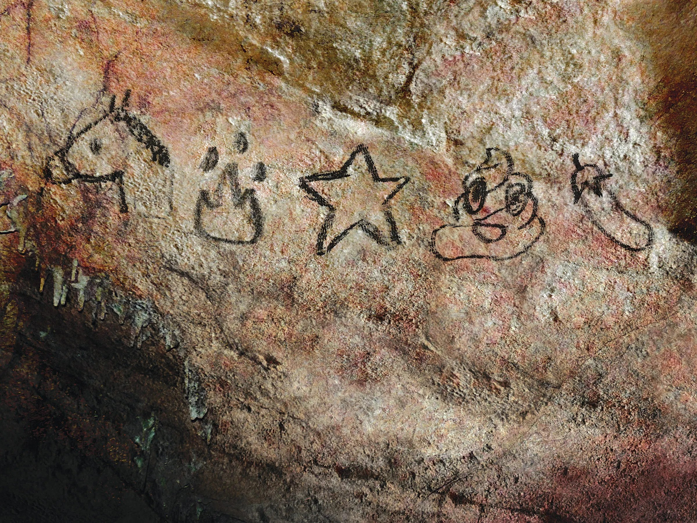 Image result for caveman paintings of emojis