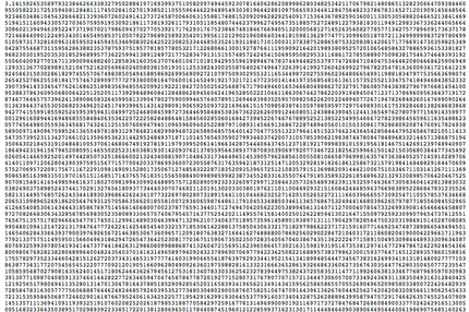 Here Is A List Of The First 1 Billion Digits Of Pi