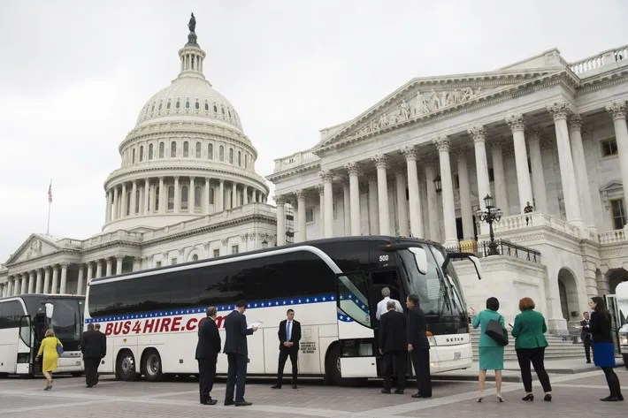 Image result for images of Senate bus trip to White House