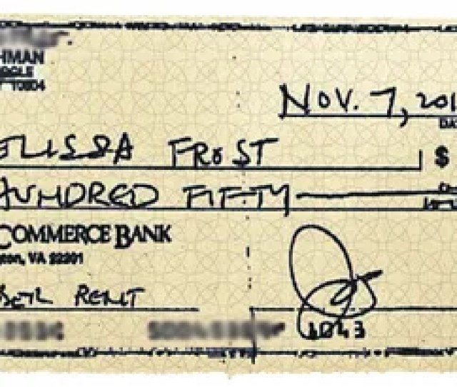 Bachmans First Payment To Frost Photo Courtesy Of Melissa Frost