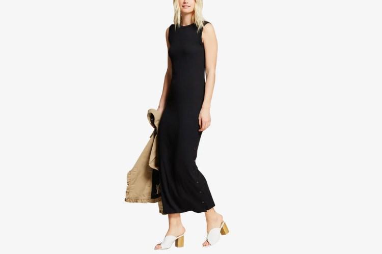 Women's Button Side Slit Midi T-Shirt Dress