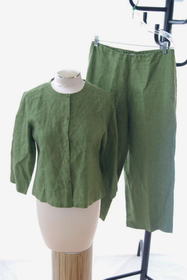 Eileen Fisher Green 100% Irish Linen 2 Pc Pant Set
