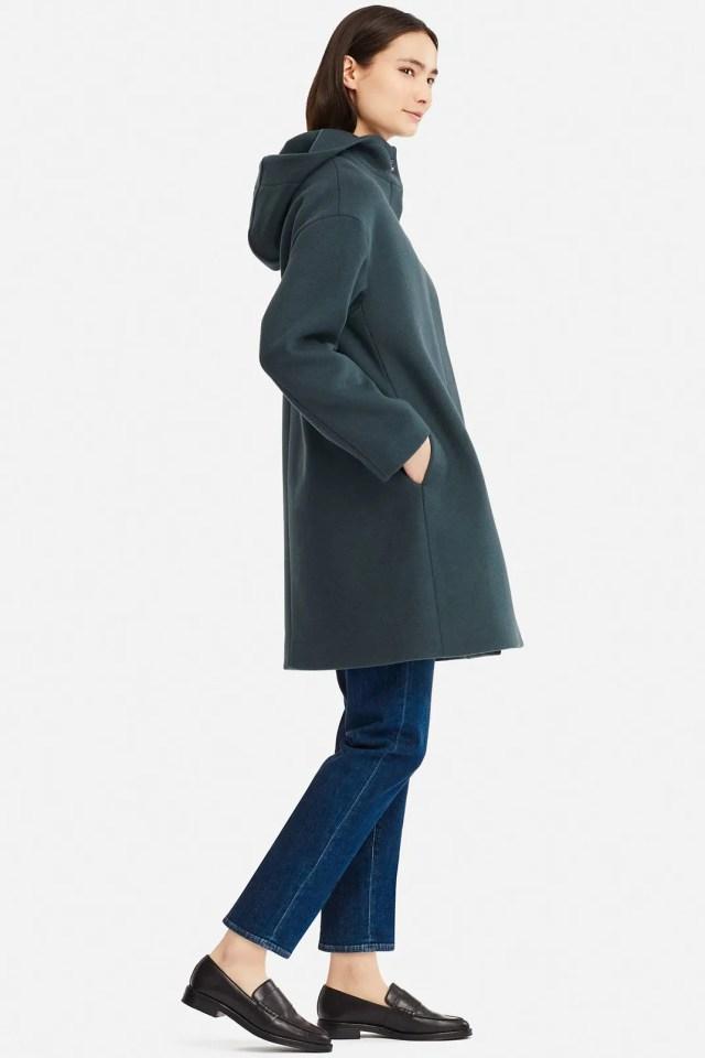 Uniqlo Women's Lightweight Wool-Blend Hooded Coat