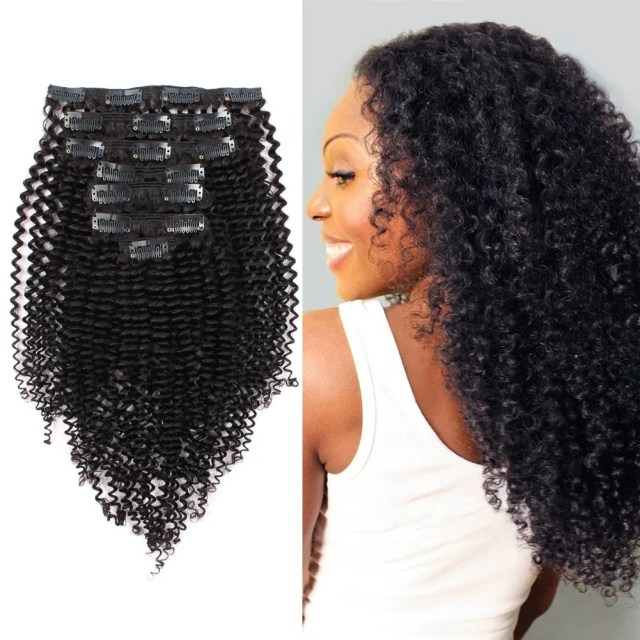 """ABH AmazingBeauty 8A Remy Brazilian Clip in Hair Extensions, 3C and 4A, 16"""", 120 gram"""