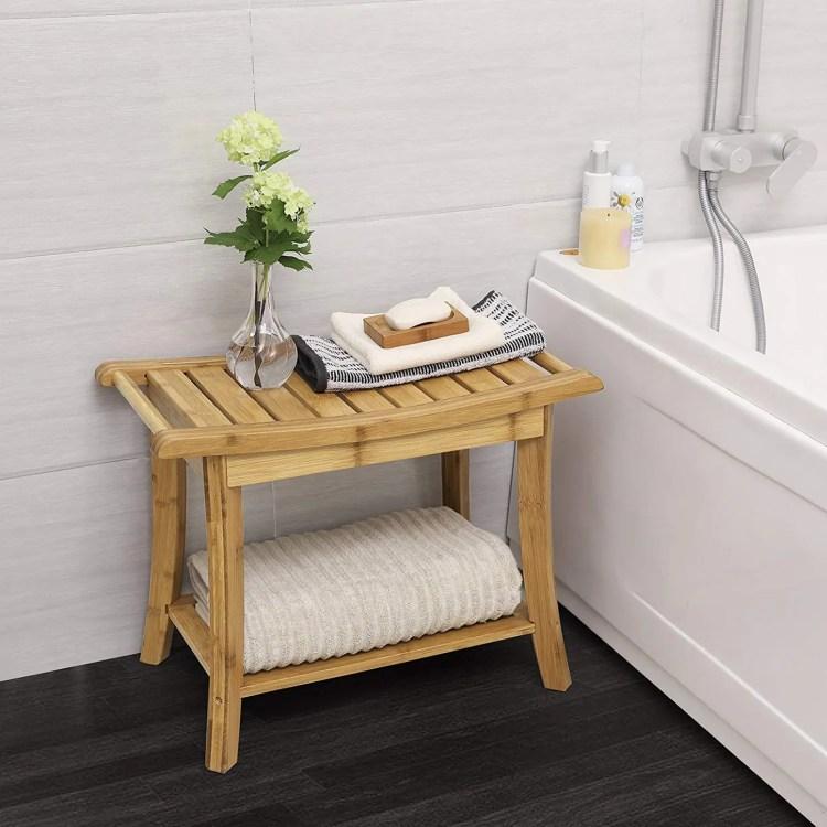 SONGMICS Bamboo Shower Stool and Shelf