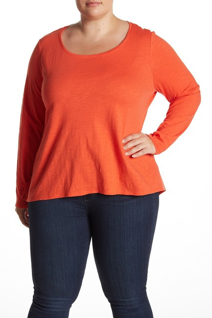 Eileen Fisher Organic Cotton Long Sleeve T-Shirt (Plus Size)