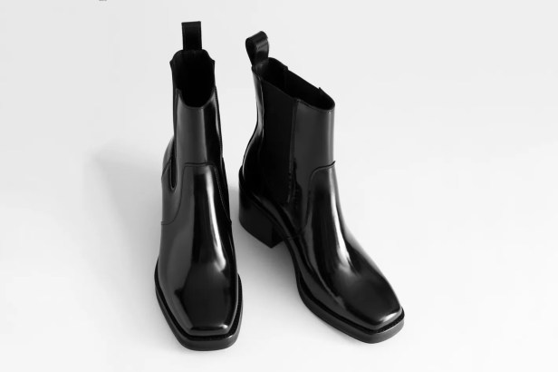 & Other Stories Square Toe Leather Boots