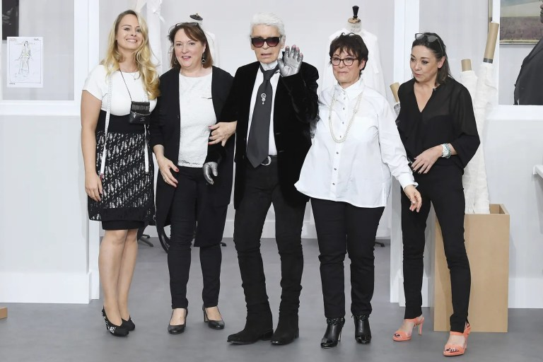 Karl Lagerfeld with his seamstresses at Chanel couture fall 2016.