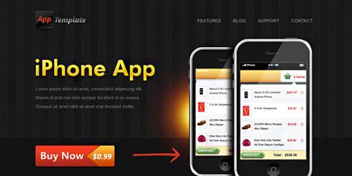 iPhone App website template (PSD)