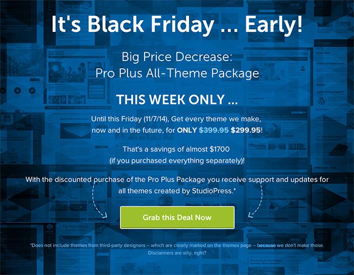 StudioPress Genesis Black Friday Deal 2014