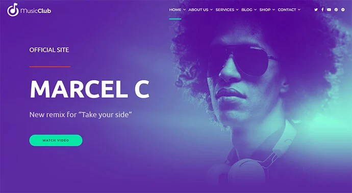 Music Club - WordPress themes with big fonts