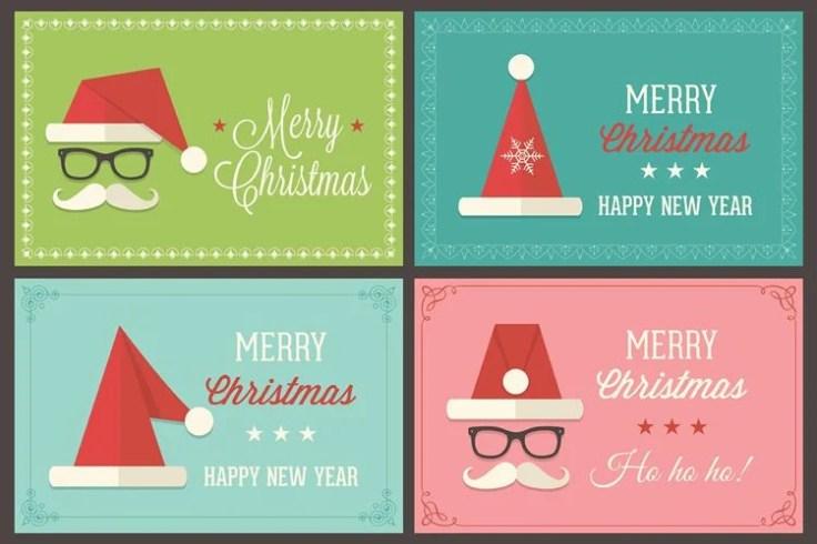 Retro Santa Cap Vector Greeting Card Templates free holidays