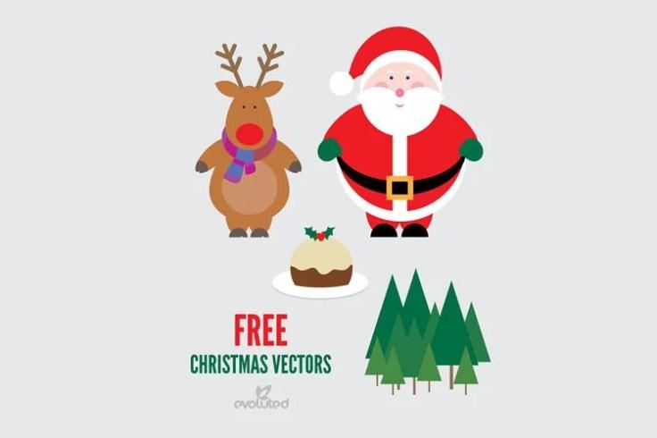 Santa Reindeer Christmas Pudding Vectors free holidays