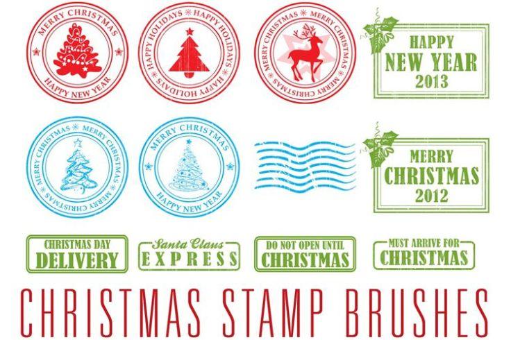 13 Christmas Stamp Brushes free holidays