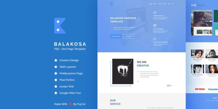 Balakosa - Free One Page Web Template PSD