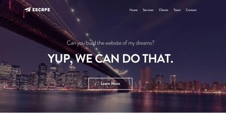 Escape One Page PSD Web Template
