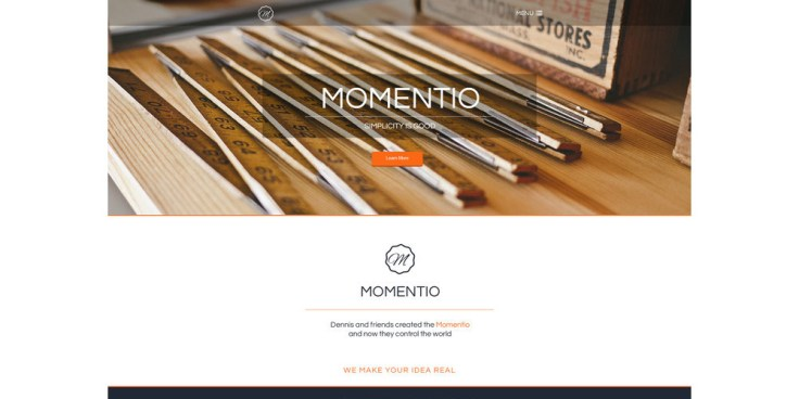 Momentio Single Page Template PSD