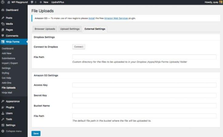 File Upload Form Field Cloud Setting