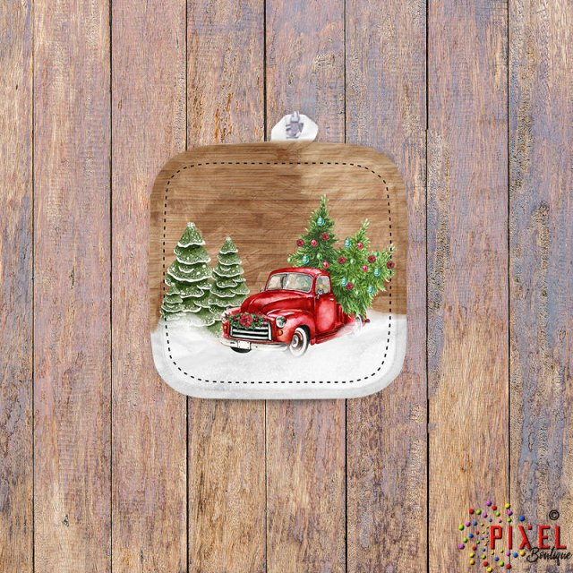 Christmas-Red-Truck-Front-Potholder-on-Wood-Bkgrd