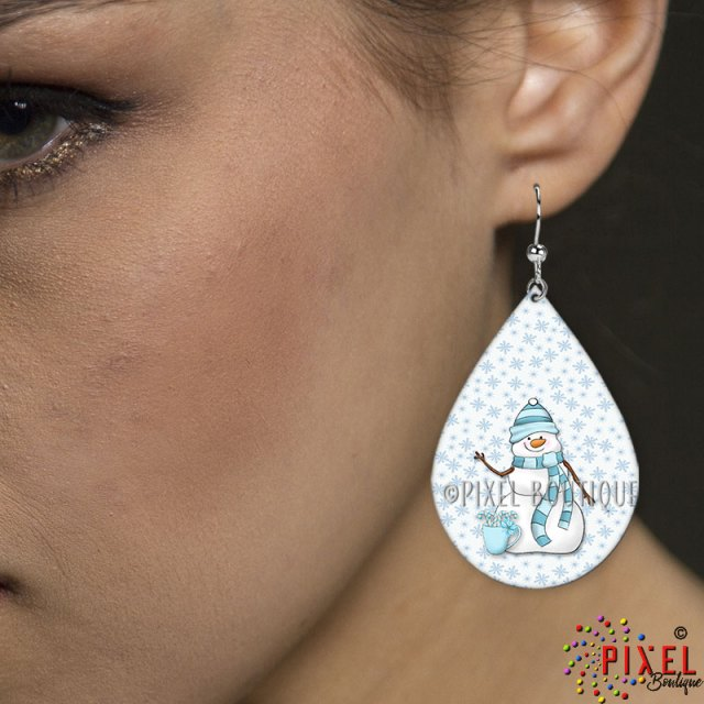 My Cute Snowman Teardrop Large Earring on Model
