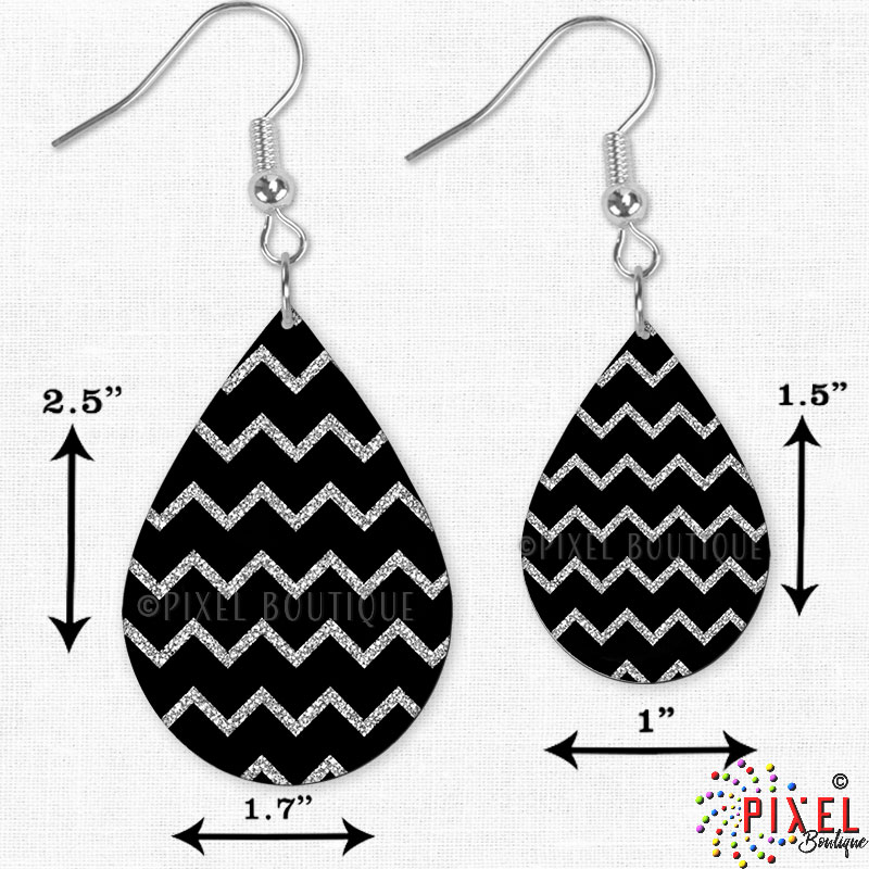 Silver Glitter Chevron Earrings showing 2 sizes