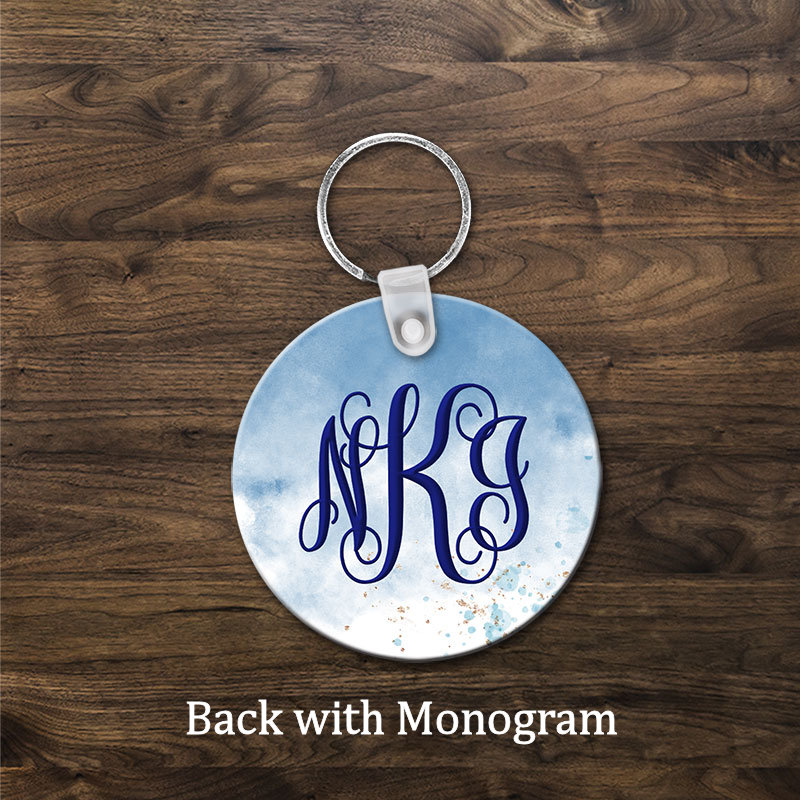 Love a nurse Key Chain back with monogram