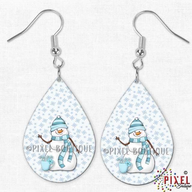 My Cute Snowman Teardrop Earrings