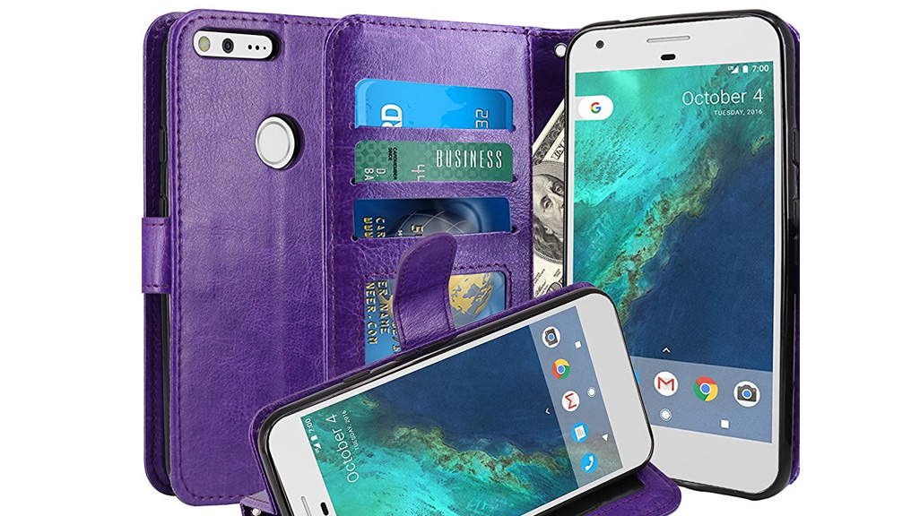 Purple wallet case for Google Pixel